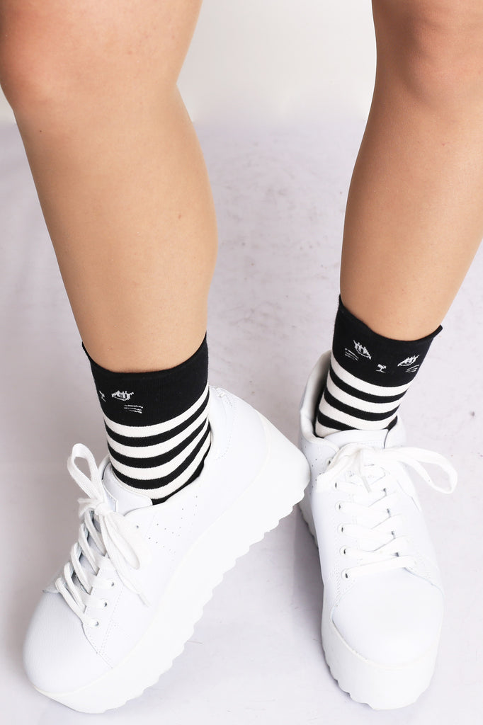Here Kitty Striped Socks