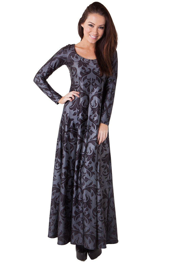 Black Damask Maxi Dress