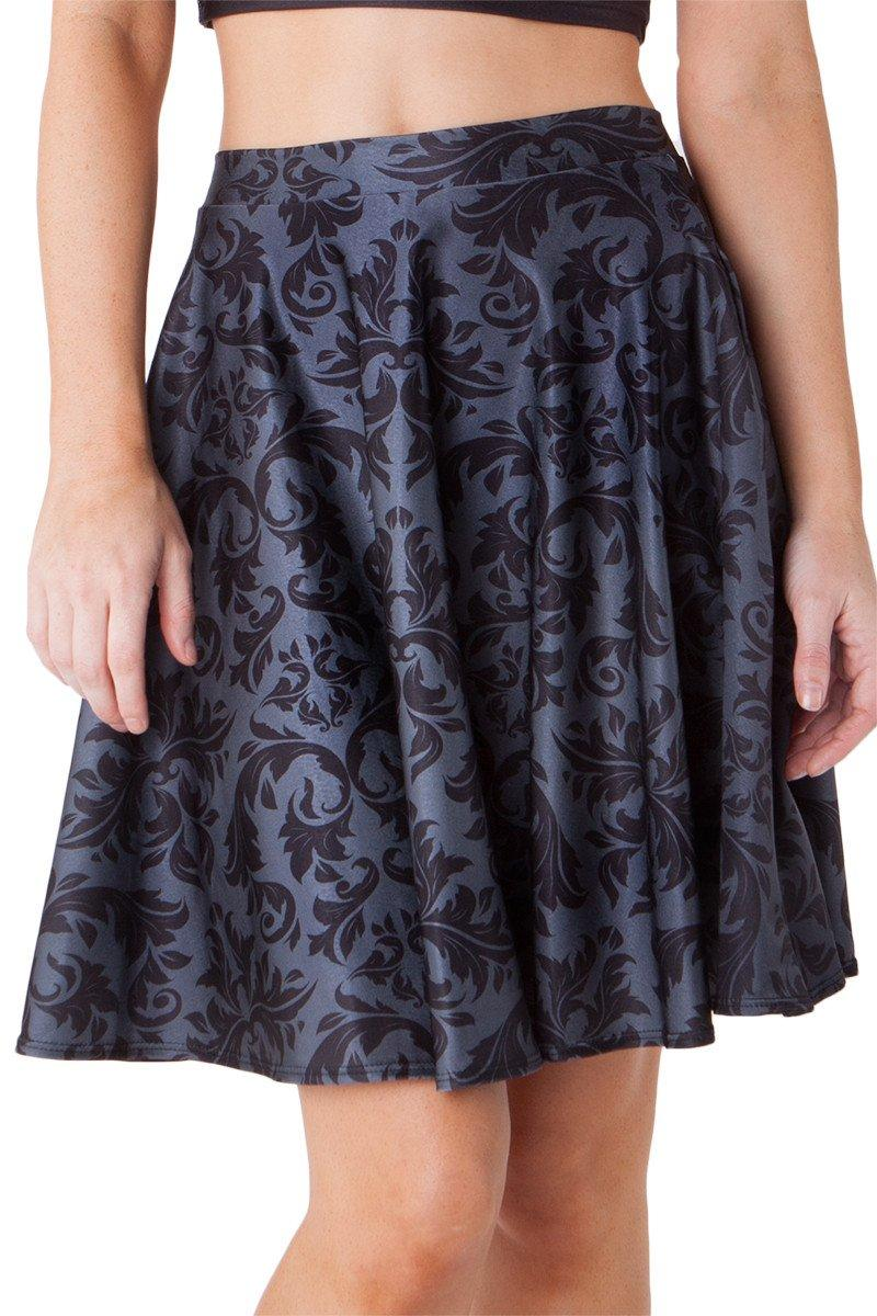 Black Damask Pocket Skater Skirt