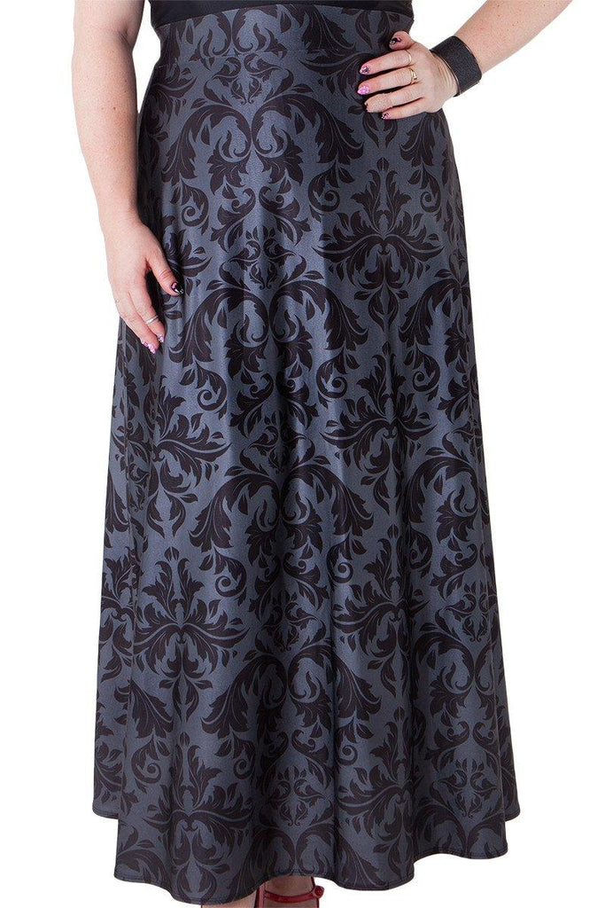 Black Damask Maxi Skirt