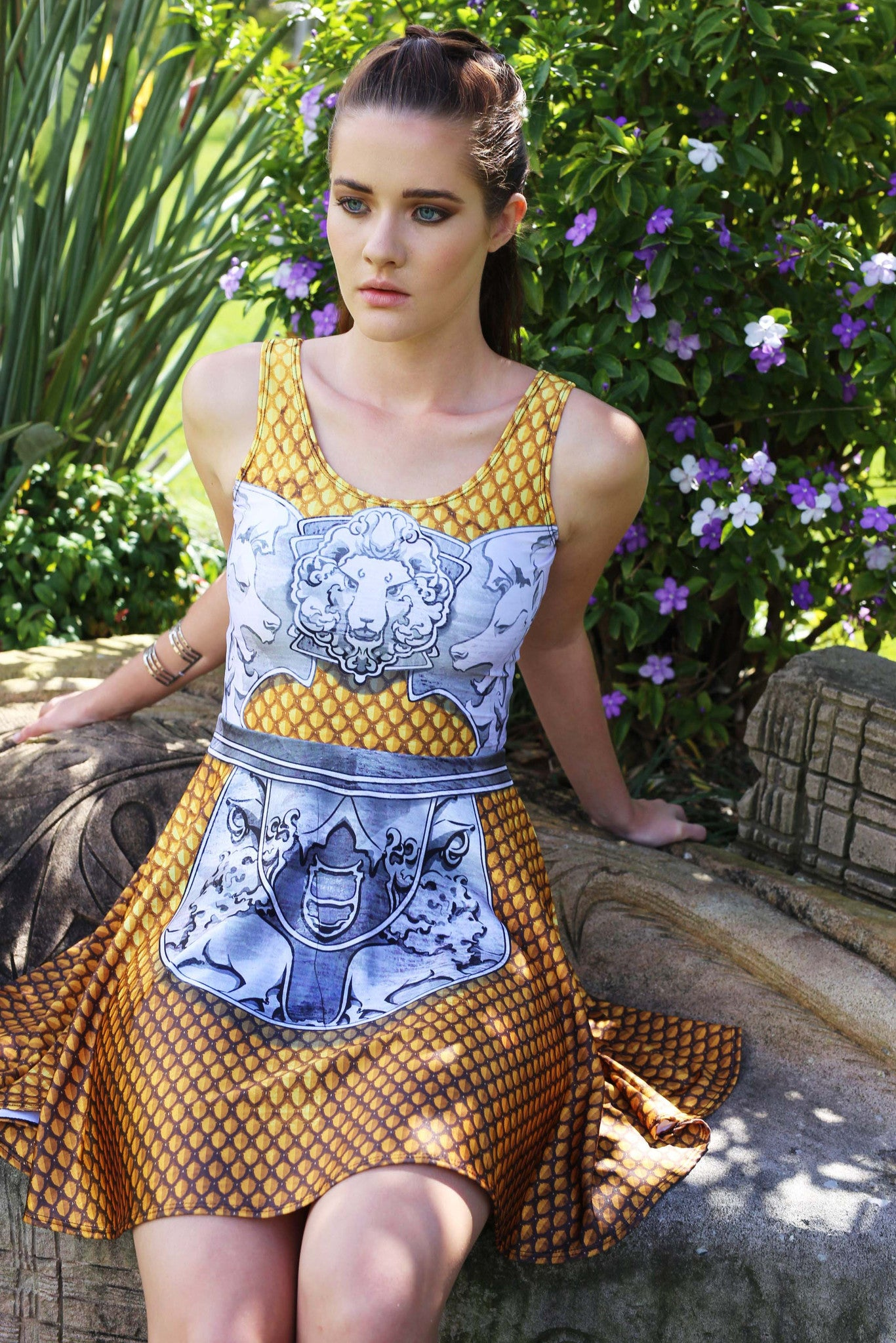 Golden Battle Maille Skater Dress