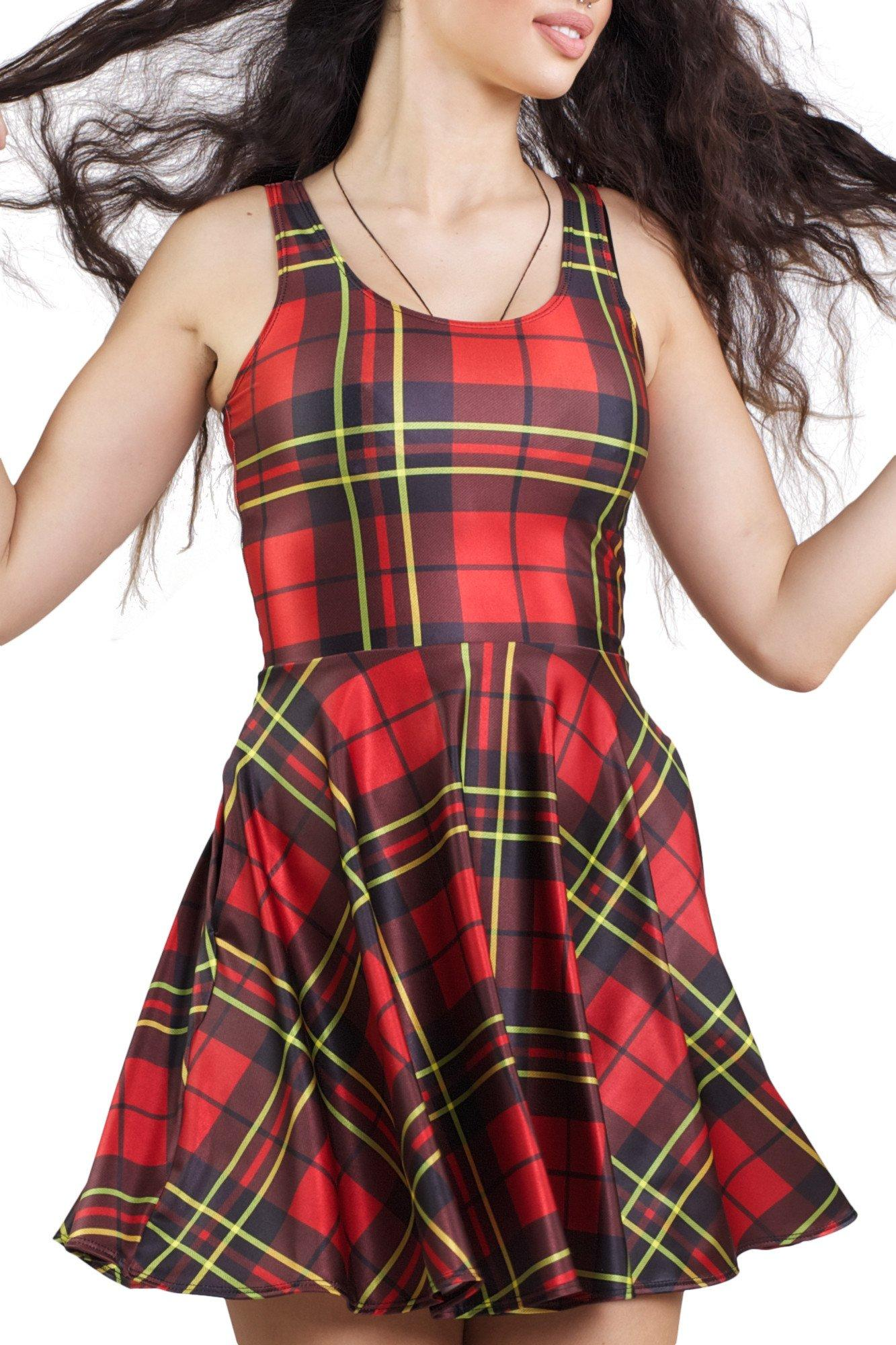 Classic Plaid Pocket Skater Dress