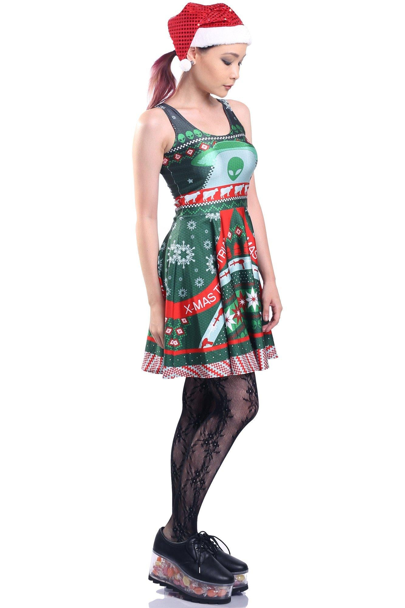 Alien Ugly Christmas Skater Dress