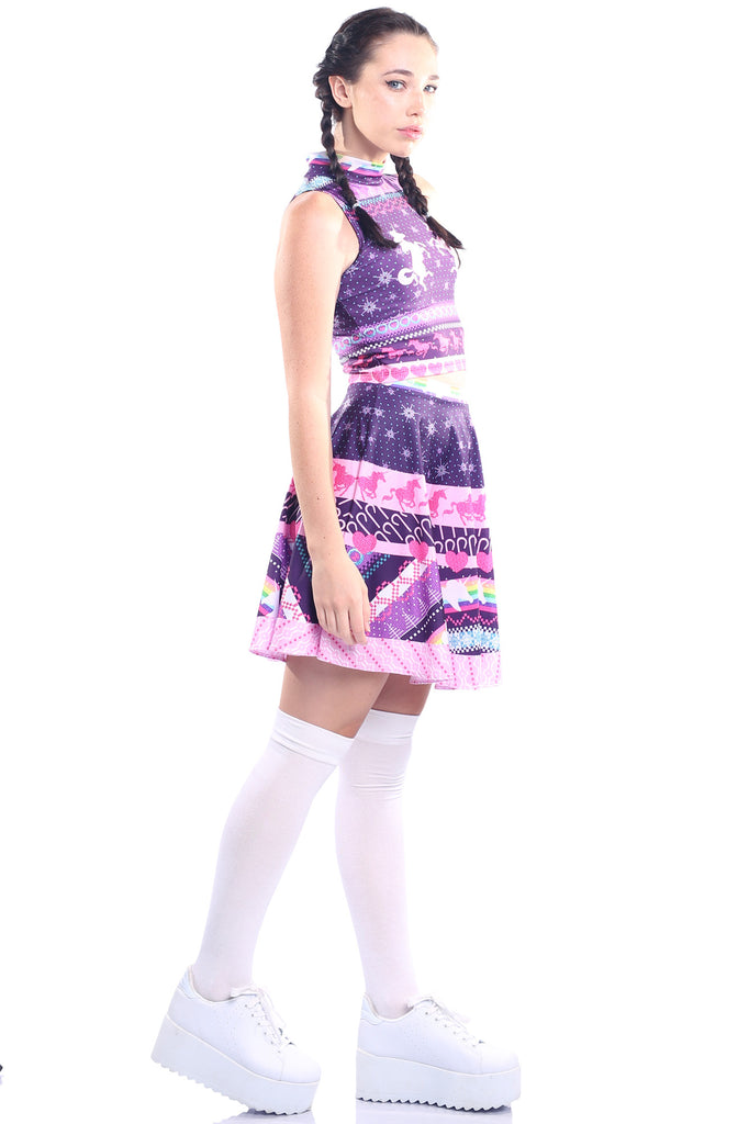 Unicorn Ugly Christmas High Crop and Skater Skirt Set