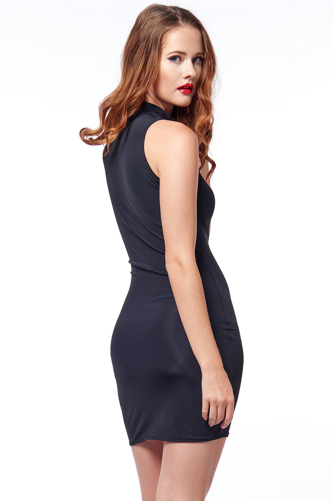 Matte Black High Neck Bodycon