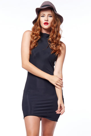 Wine Velvet High Neck Bodycon - Limited