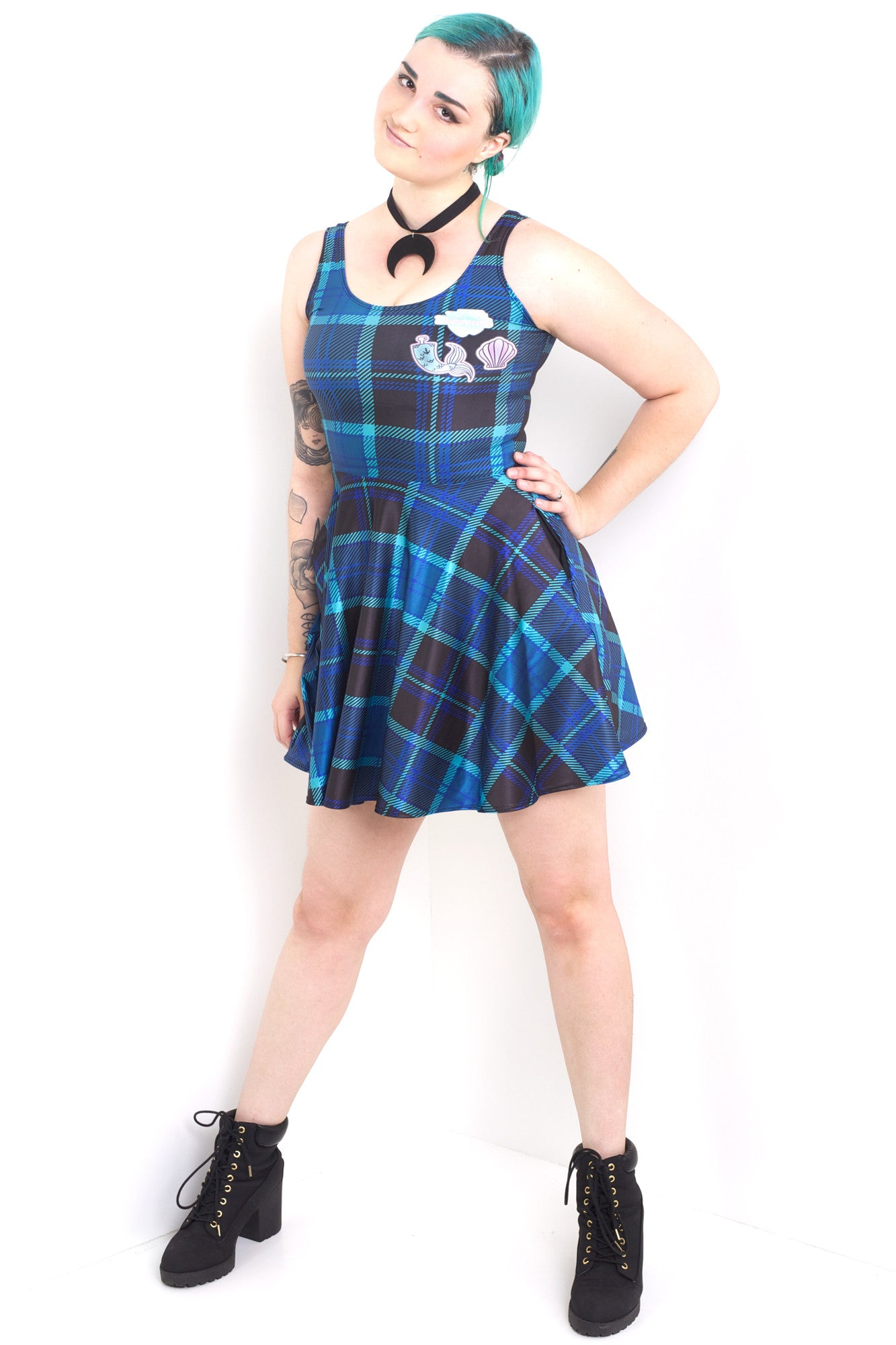 Mermaid Plaid Pocket Skater Dress