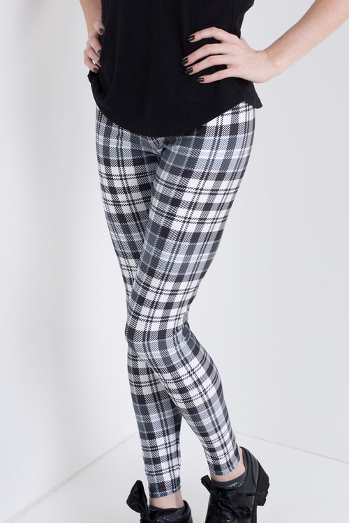 Monochrome Plaid Leggings