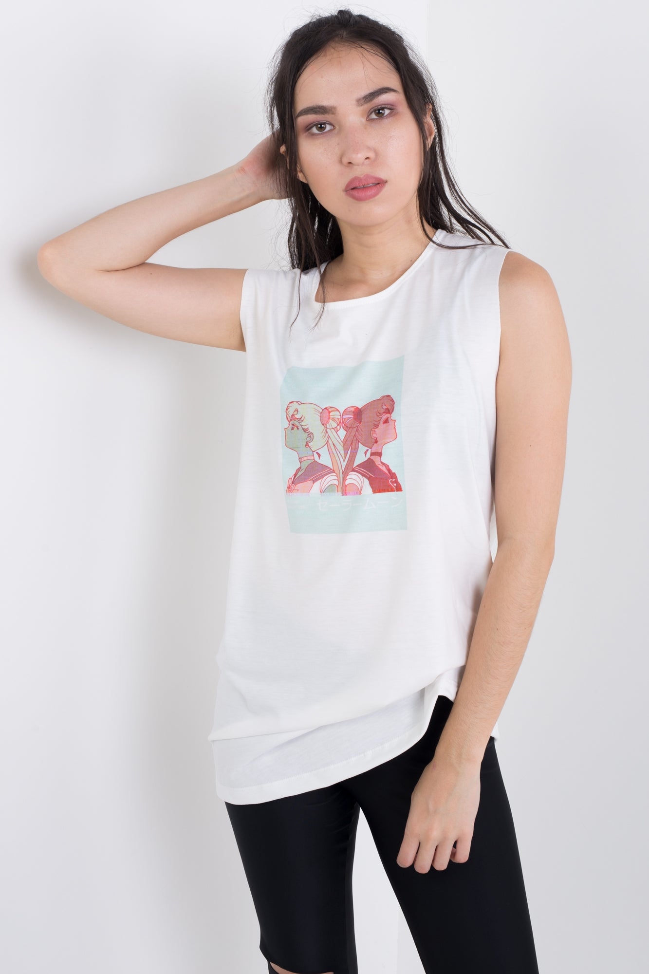 Moon Split Sleeveless Tee