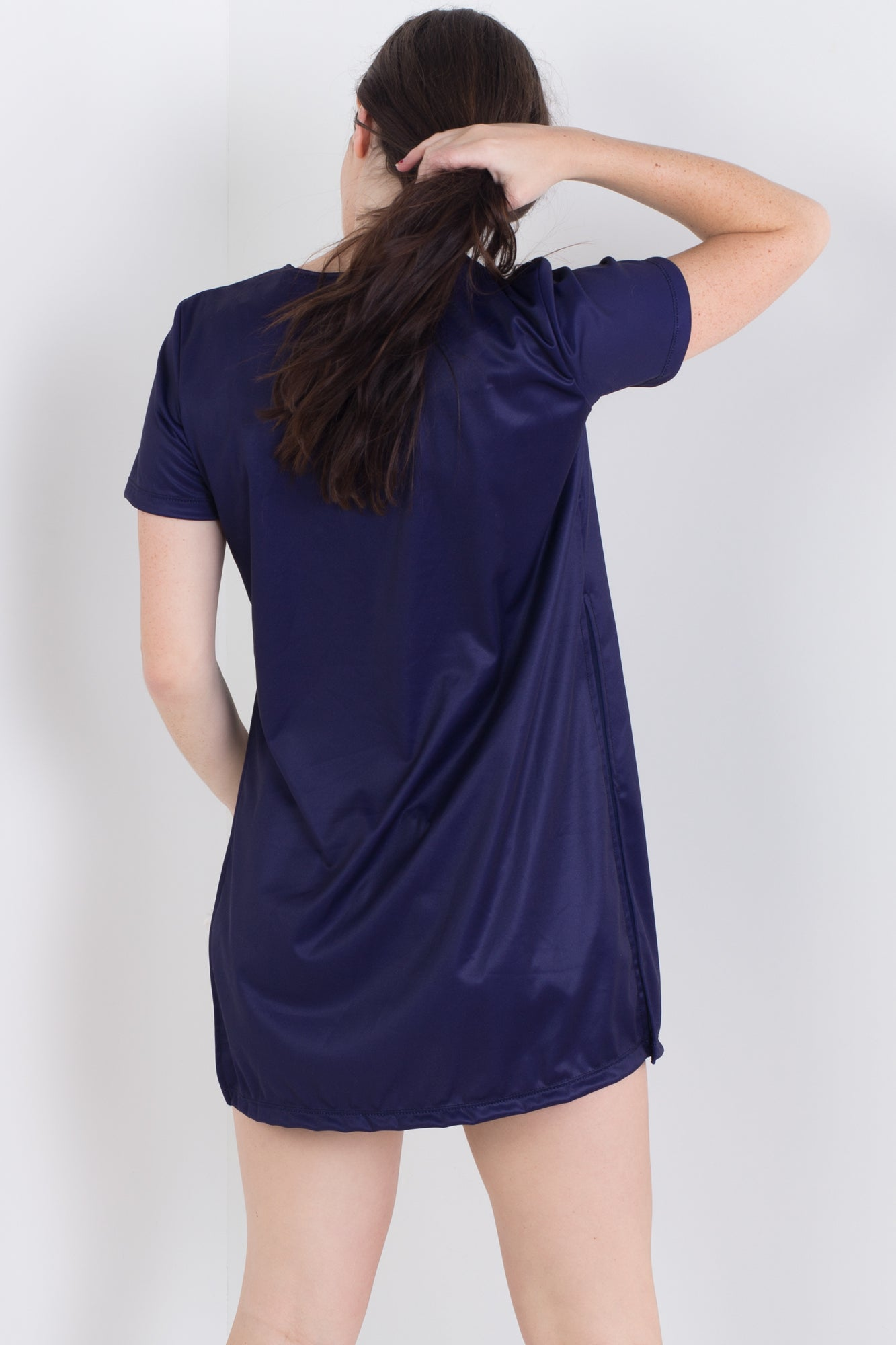Navy Side Split Tee