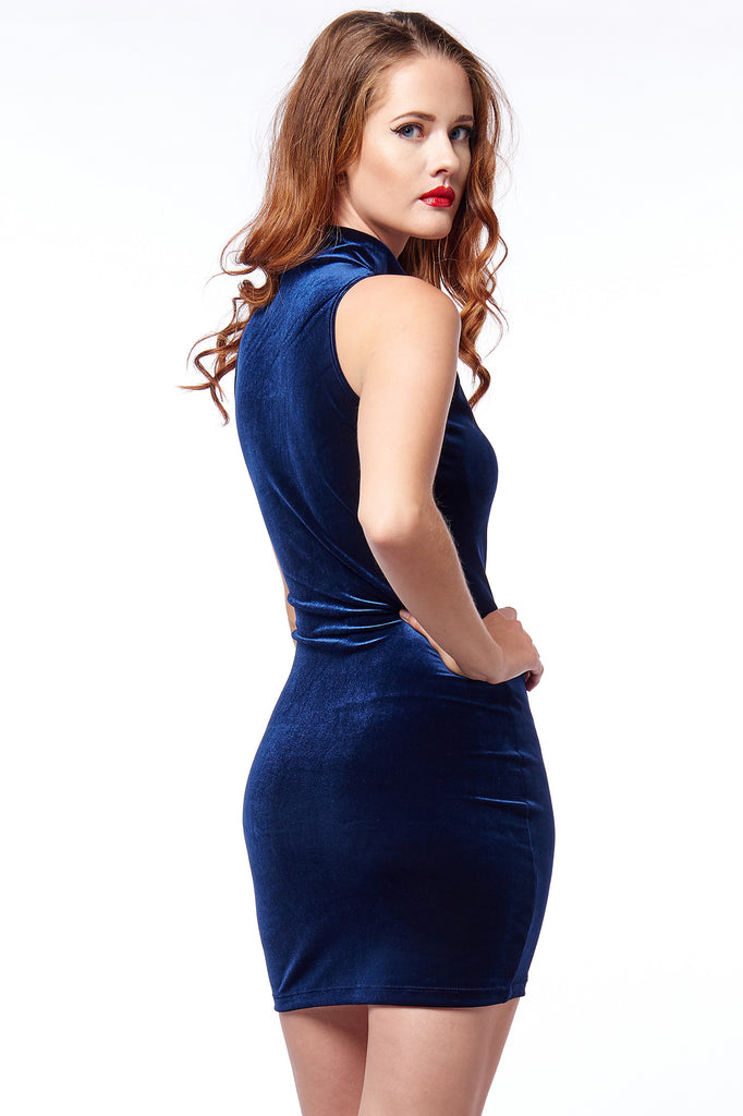 Navy Velvet High Neck Bodycon - Limited