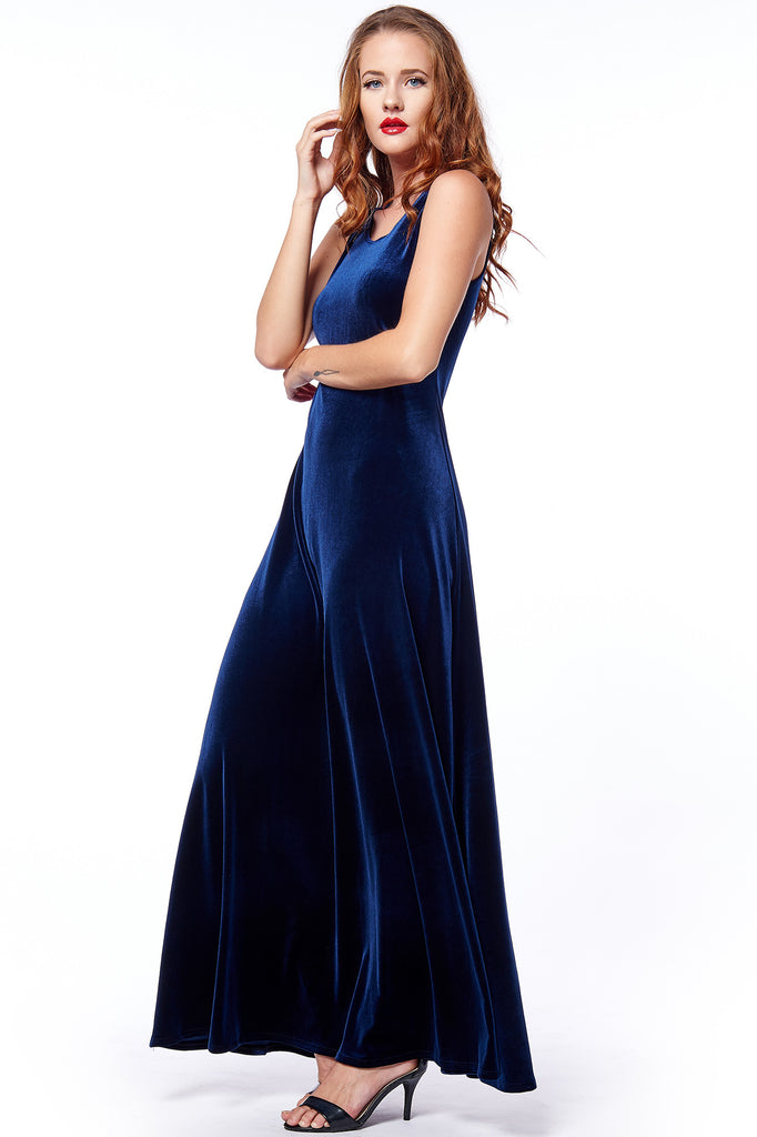 Navy Velvet Sleeveless Maxi Dress - Limited