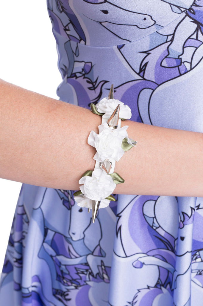 Spikes and Roses Cuff – White