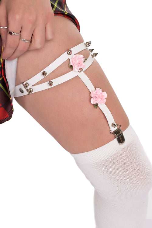 Spikes and Roses Garter – White