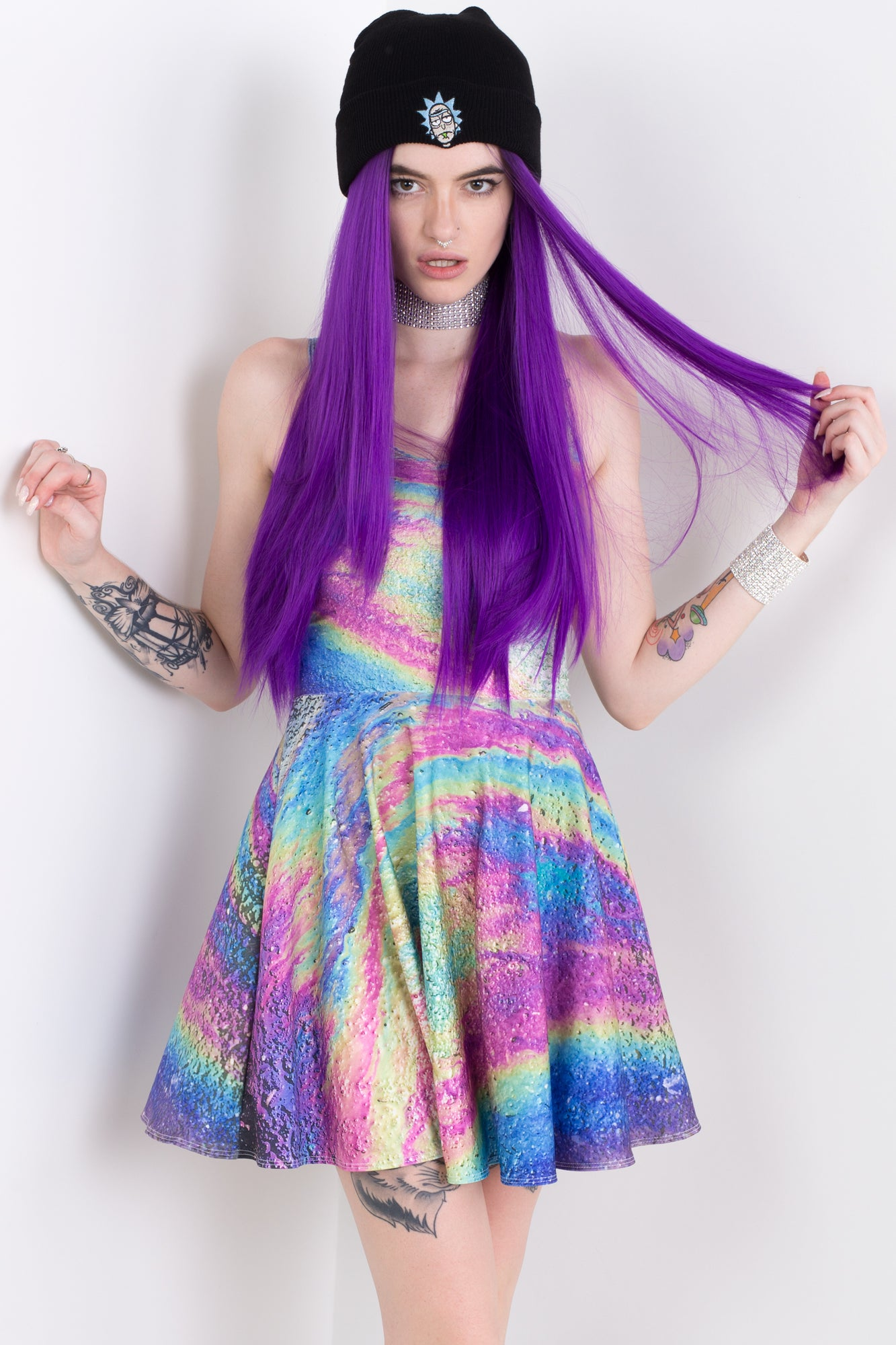 Oil Spill Skater Dress