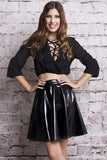 Midnight PVC Skater Skirt