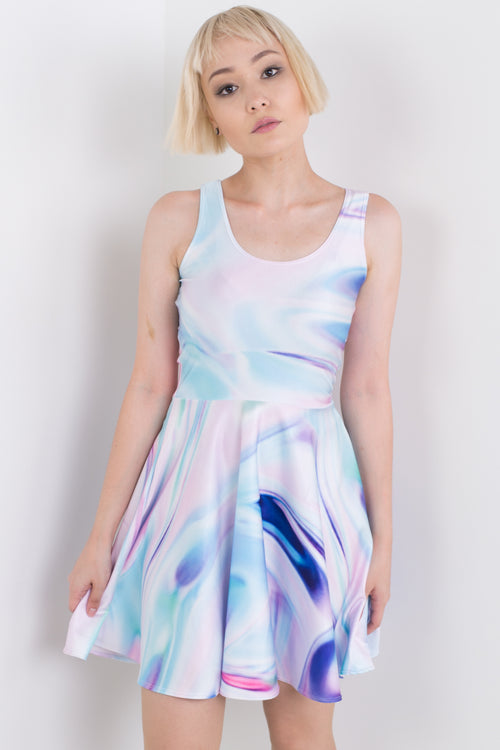 Painted Holographic Skater Dress
