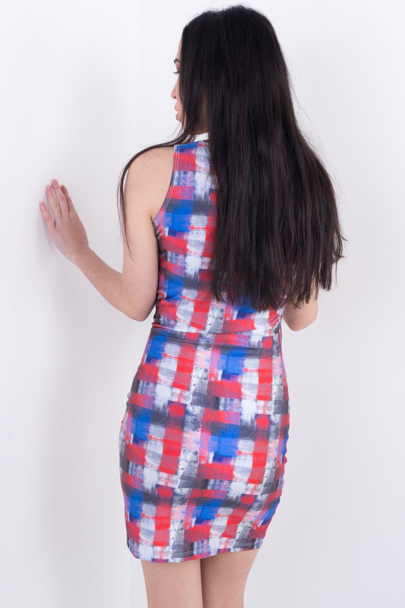 Painted Plaid Bodycon Dress