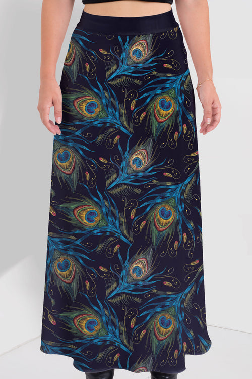 Peacock Feathers Maxi Skirt