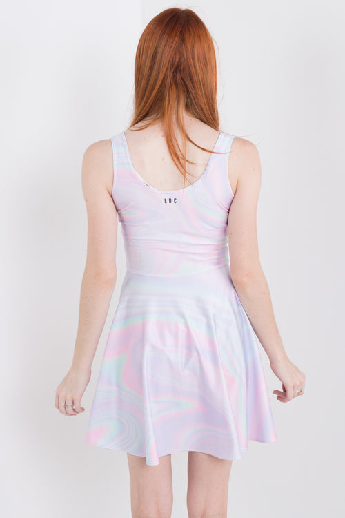 Pink Holographic Skater Dress