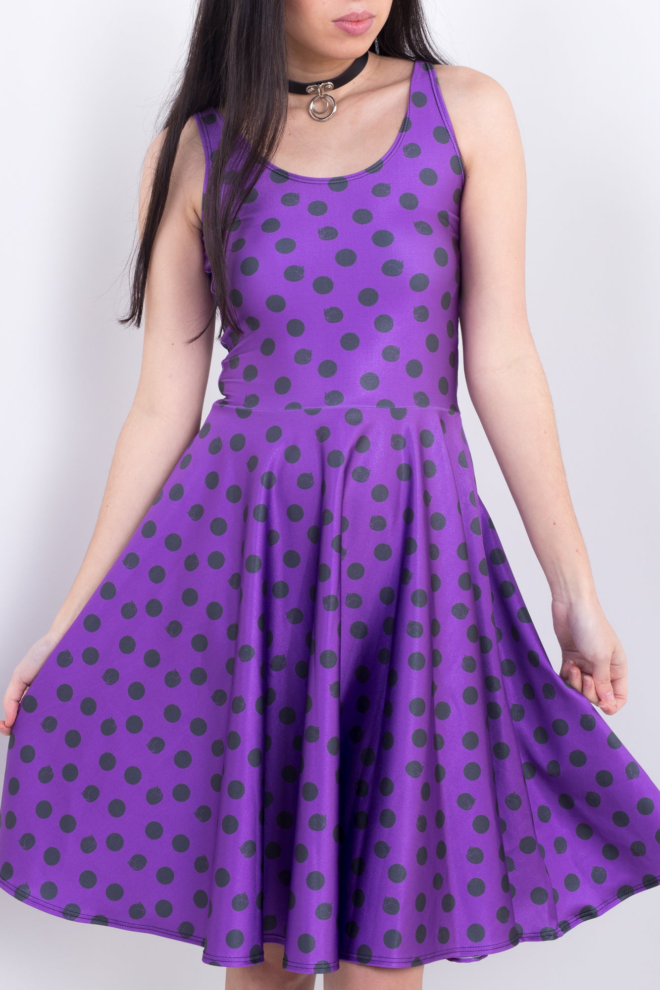 Polka Dot Kitty Midi Skater Dress