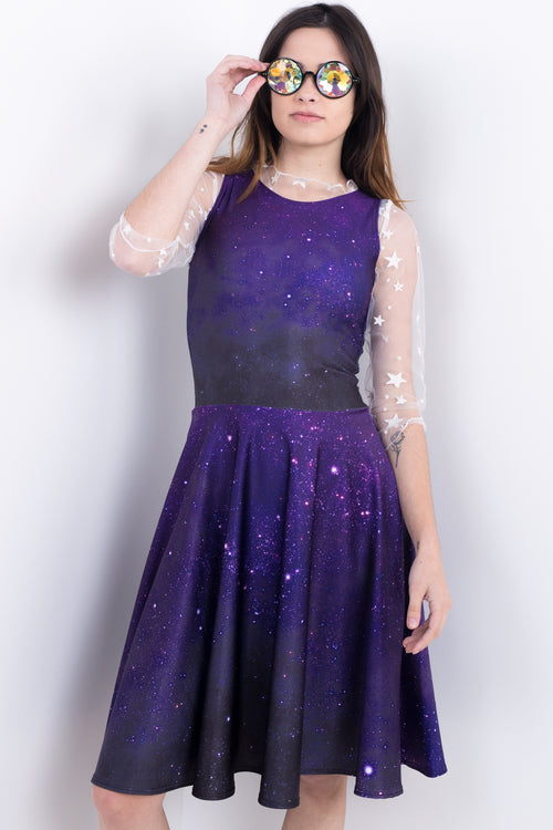 Purple Galactic Glitter Midi Vogue Dress