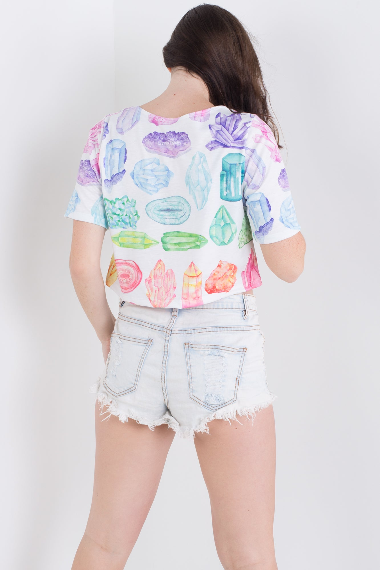 Rainbow Crystal Tee Crop