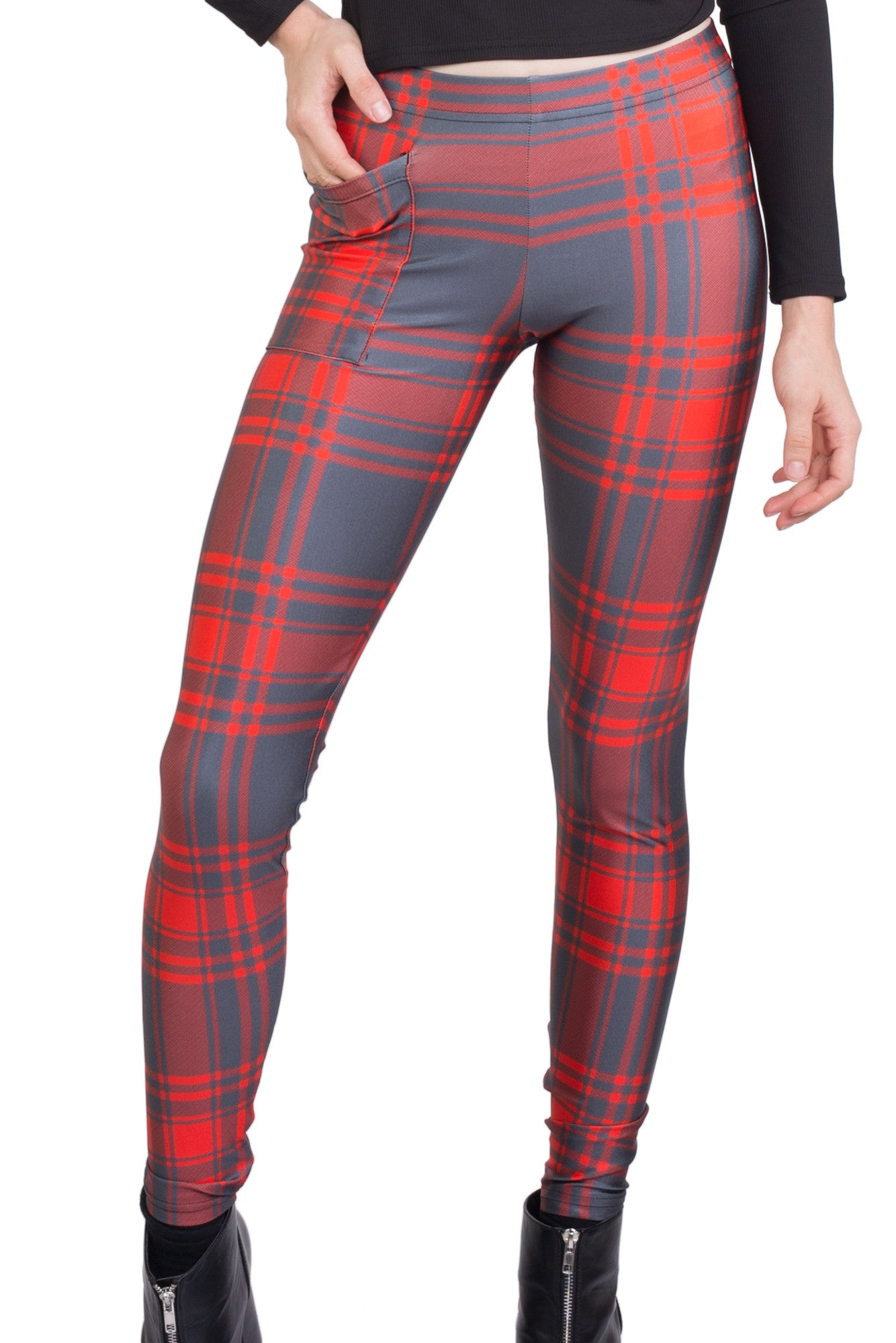 Ruby Tartan Pocket Leggings