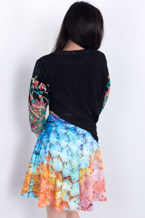 Sea Monster Scales Skater Skirt