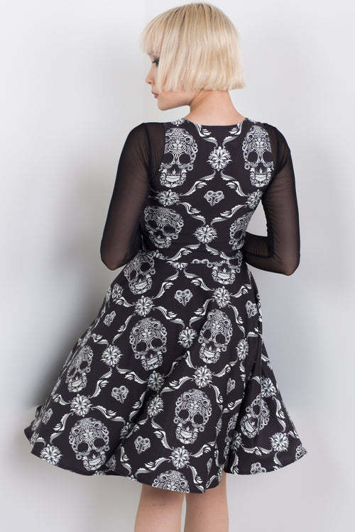Skull Tattoo Midi Vogue Dress