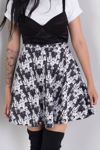 Monochrome Plaid Skater Skirt