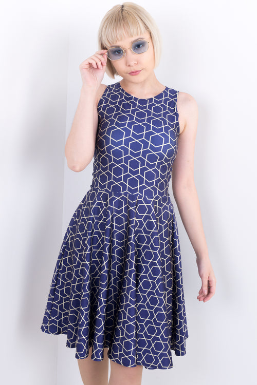 Sophisticated Geometric Midi Vogue Dress