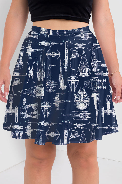 Spaceships Skater Skirt