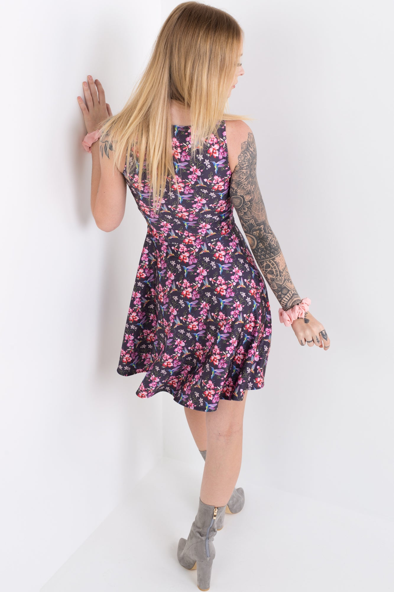 Stitched Floral And Bird Vogue Dress