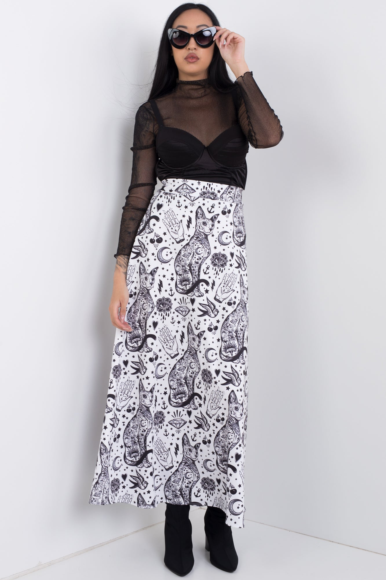 Tattoo Kitty Maxi Skirt