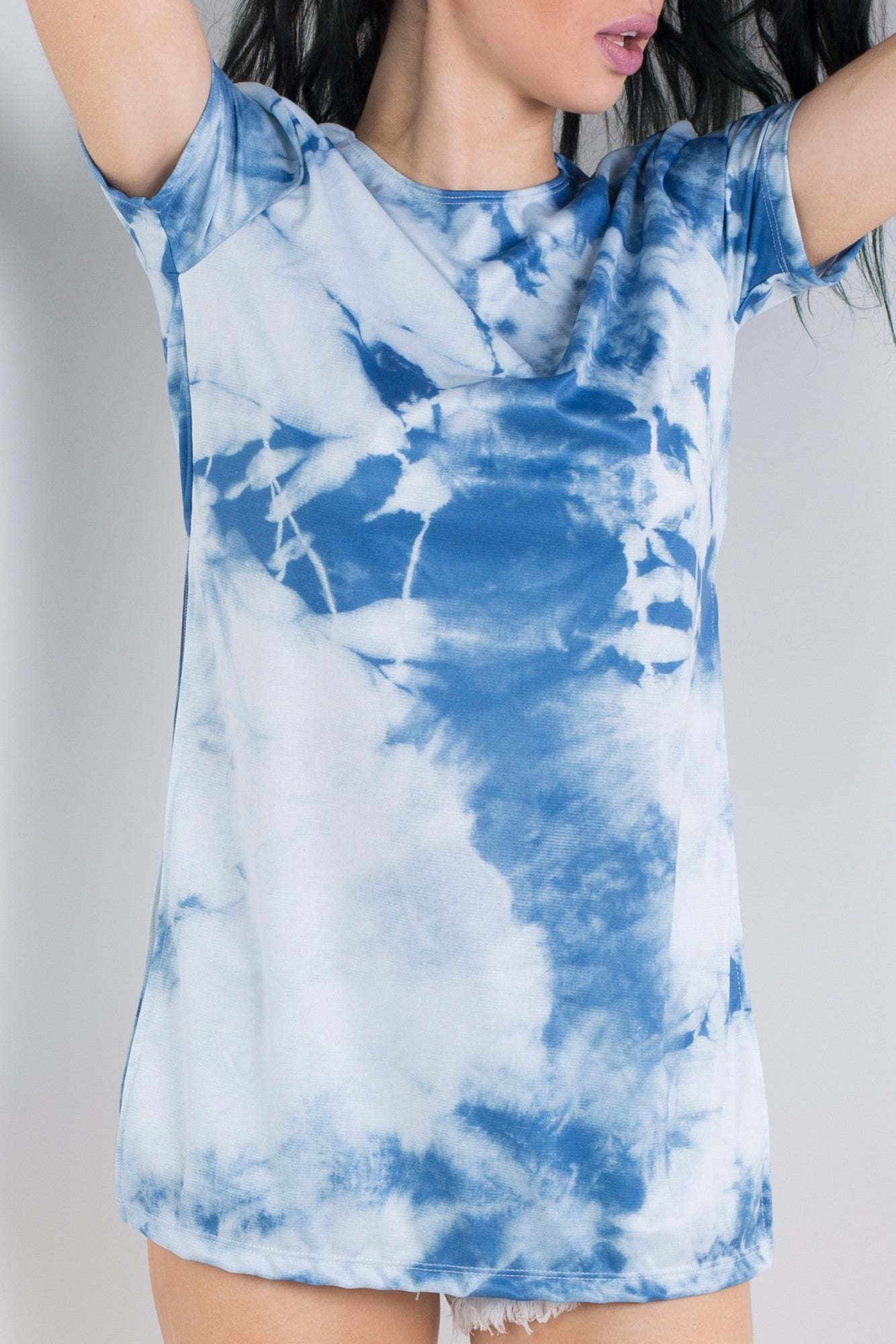 Tie and Dye Indigo Side Split Tee
