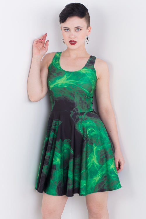 Villainous Green Pocket Skater Dress