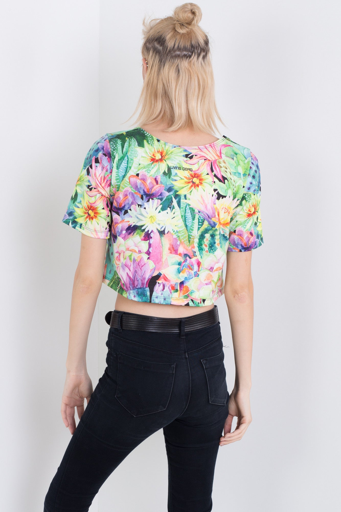 Watercolour Cacti Tee Crop
