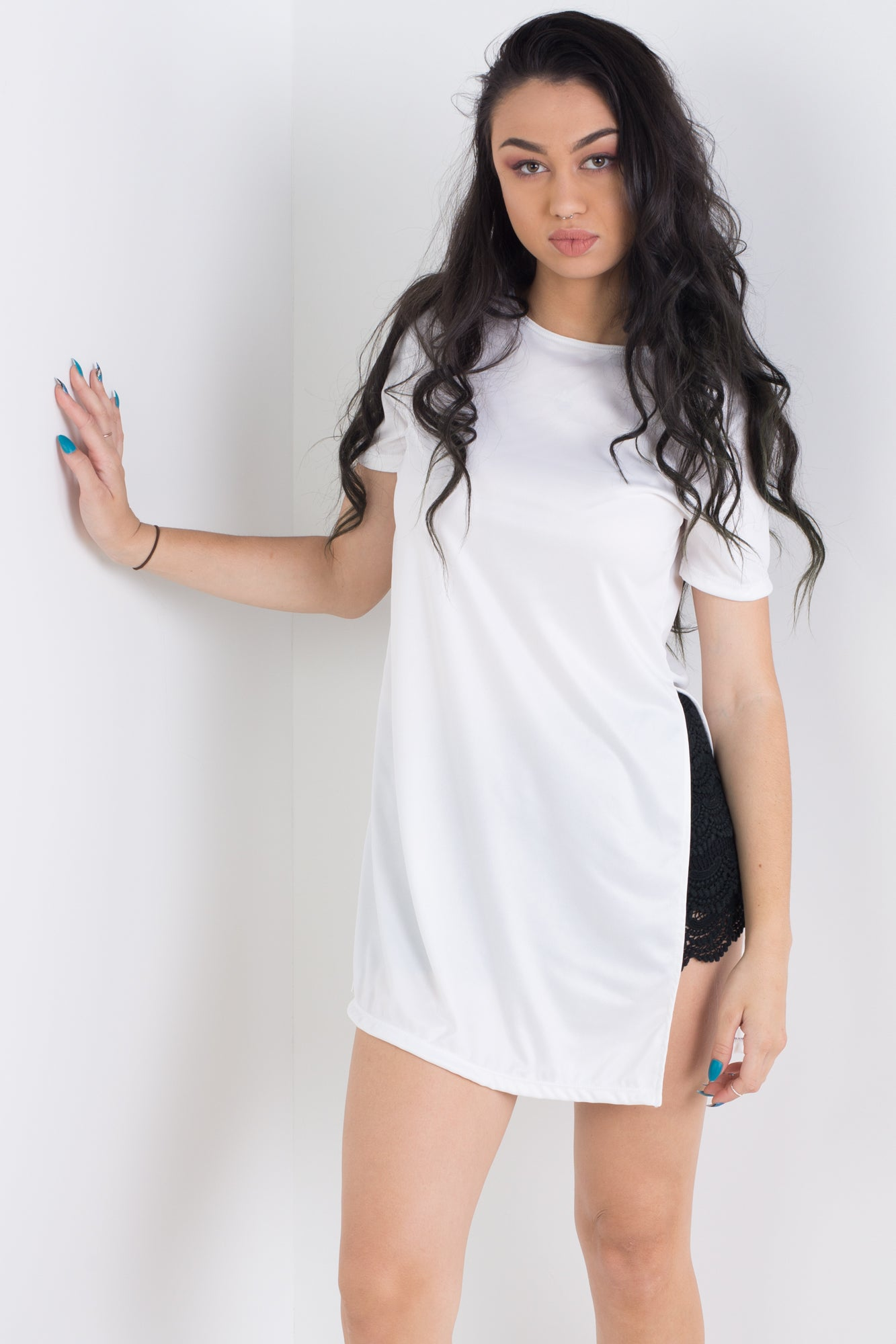 White Side Split Tee
