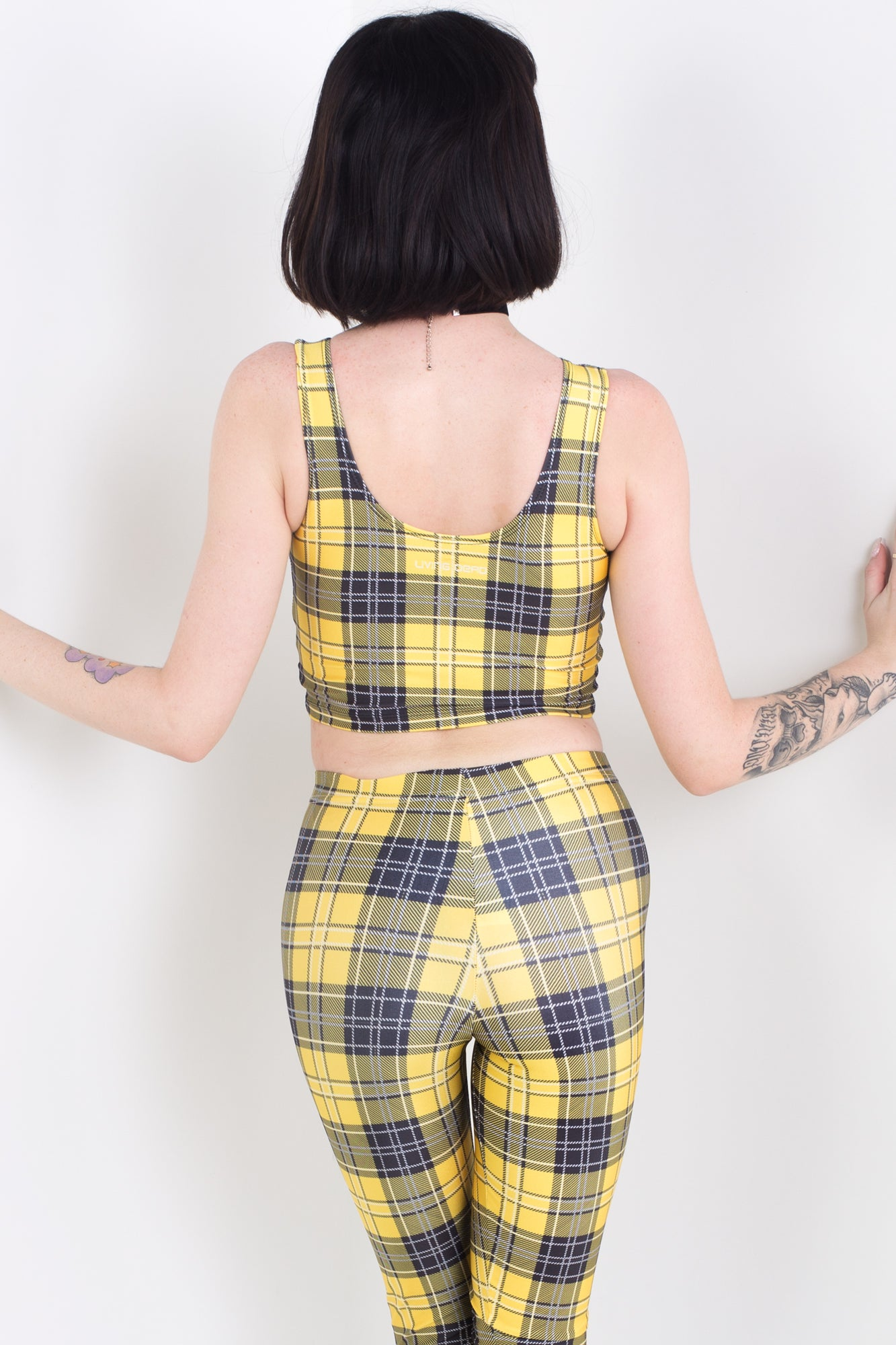 Yellow Plaid Sleeveless Crop