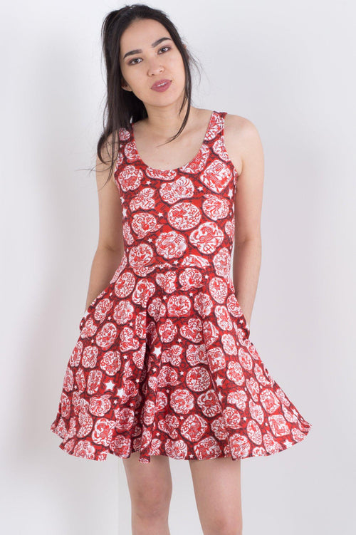 Chinese Zodiac Stars Pocket Skater Dress