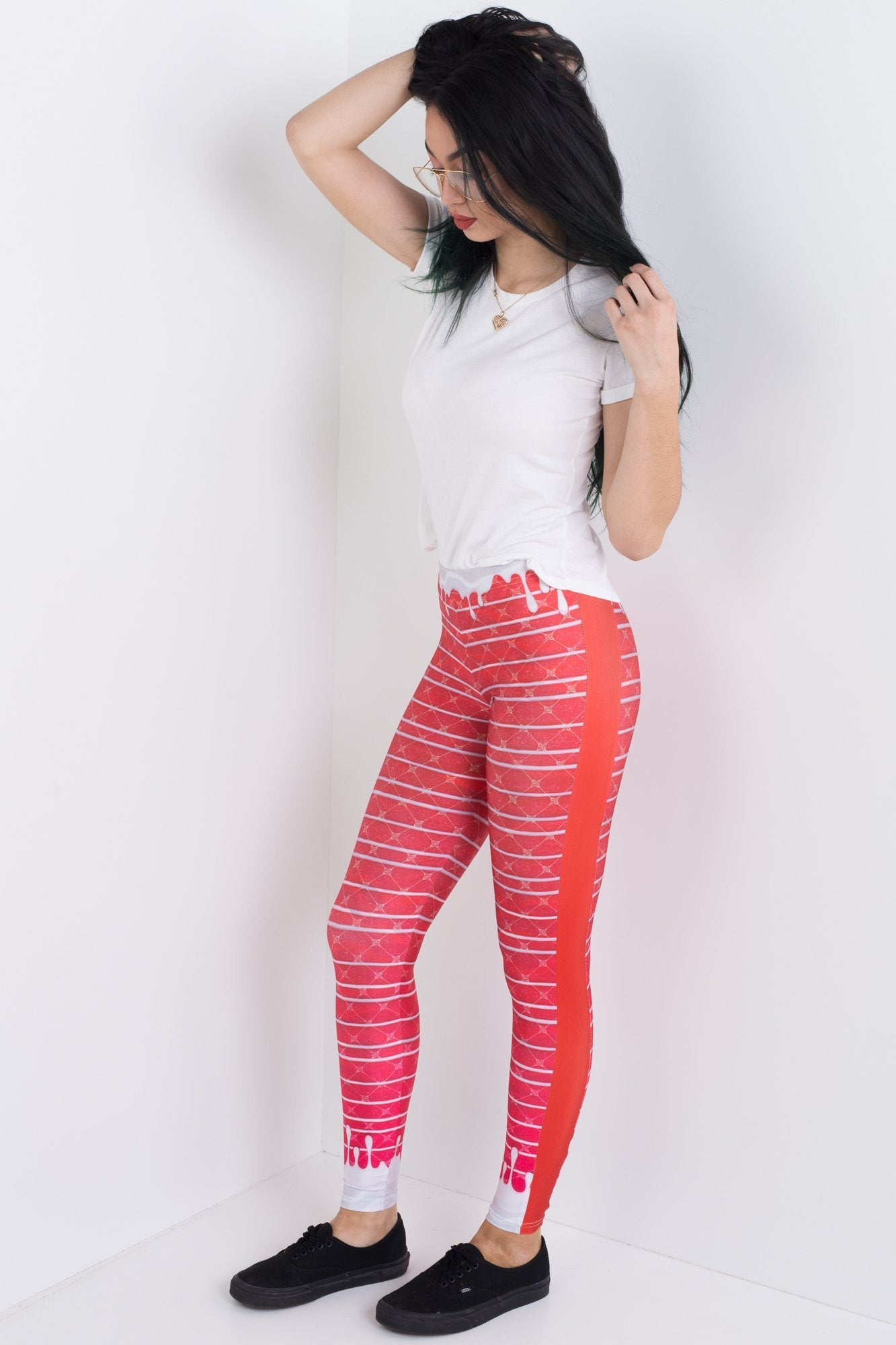 Red Velvet Panelled Leggings
