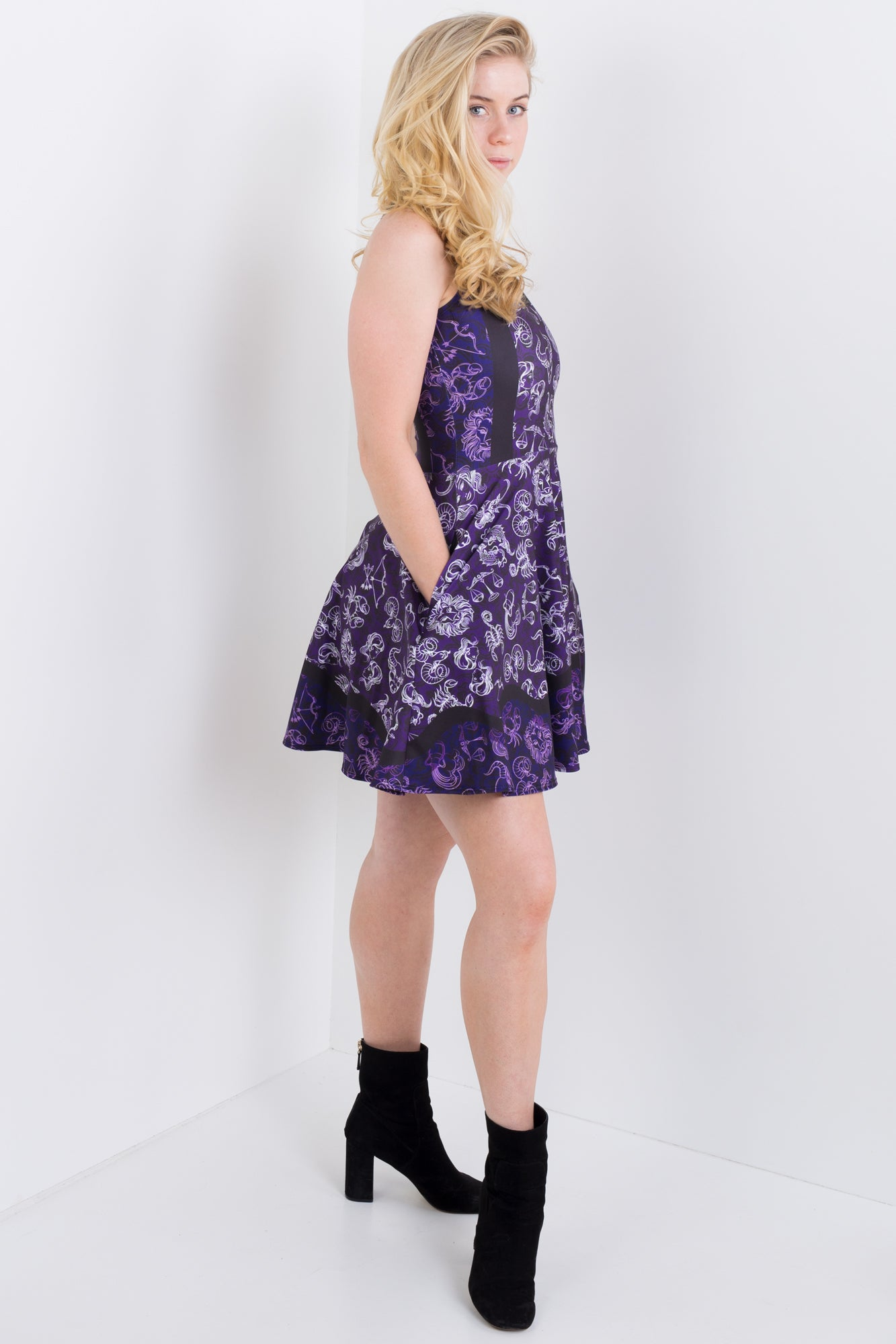 Western Zodiac Icon Pocket Skater Dress