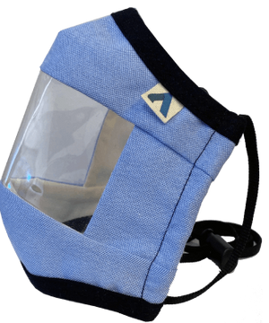 Adult Adjustable Window Communication Mask - Oxford Blue