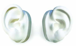 White Silicone Ear Displays - Left