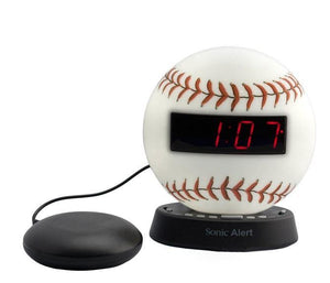 Sonic Glow Baseball Alarm Clock with recordable alarm and Sonic Bomb Bed Shaker