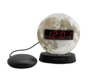 Sonic Glow Moonlight Alarm Clock with recordable alarm and Sonic Bomb bed shaker
