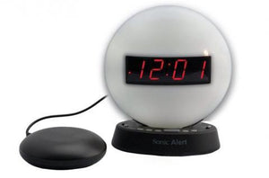 Sonic Glow Nighlight Alarm Clock with recordable alarm and Sonic Bomb bed shaker