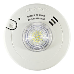 BRK Combination Photoelectric T3 Smoke Alarm, Carbon Monoxide T4 Alarm and LED Strobe with 10-Year Battery Back-up