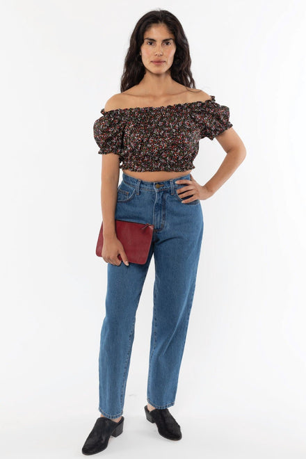 RCT314P - Printed Poplin Scrunch Top